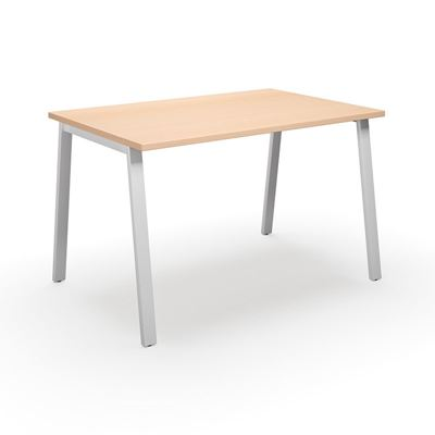 Skrivbord Duo-A, rak skiva, LxB 1400x800 mm, björk/vit