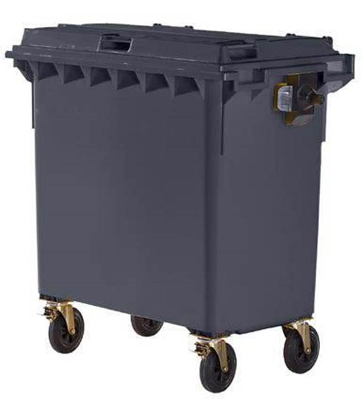 Stor søppeltønne i plast DIN EN 840, volum 770 l, antrasittgrå