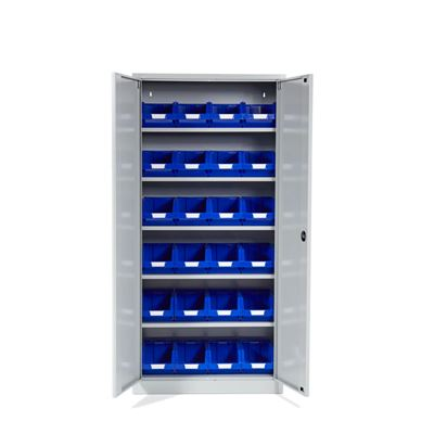 Förvaringsskåp Siljan med Modulback Durum, 24 st, grå/blå, BxDxH 920x420x1950 mm