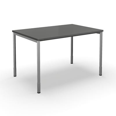 Skrivbord Duo-C, rak skiva, LxB 1200x800 mm, mörkgrå/silver