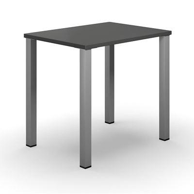 Skrivbord Duo-U, rak skiva, LxB 800x600 mm, mörkgrå/silver
