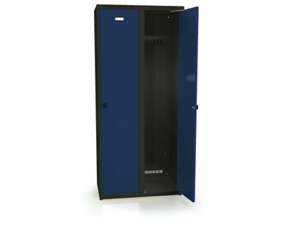 Klädskåp Karup, plant tak, BxDxH 800x500x1800 mm, 2 dörrar, blå/antracit