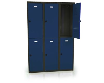 Klädskåp Karup, plant tak, BxDxH 1200x500x1800 mm, 6 dörrar, blå/antracit