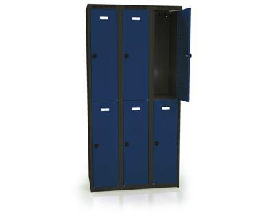 Klädskåp Karup, plant tak, BxDxH 900x500x1800 mm, 6 dörrar, blå/antracit