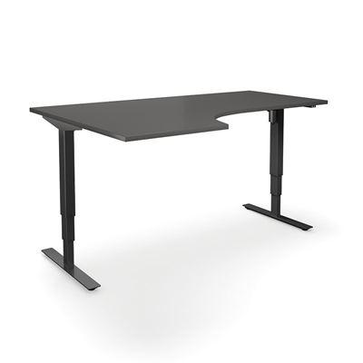 Höj och sänkbart hörnskrivbord Atlanta, vänster, LxB 1800x1200 mm, mörkgrå/svart