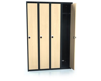 Klädskåp Karup, plant tak, BxDxH 1200x500x1800 mm, 4 dörrar, björk/antracit