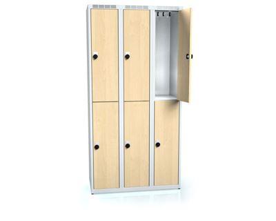 Klädskåp Karup, plant tak, BxDxH 900x500x1800 mm, 6 dörrar, björk/grå
