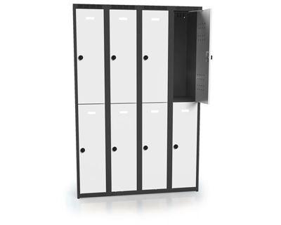Klädskåp Karup, plant tak, BxDxH 1200x500x1800 mm, 8 dörrar, grå/antracit