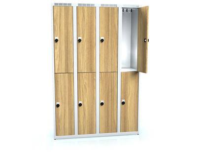 Klädskåp Karup, plant tak, BxDxH 1200x500x1800 mm, 8 dörrar, ek/grå