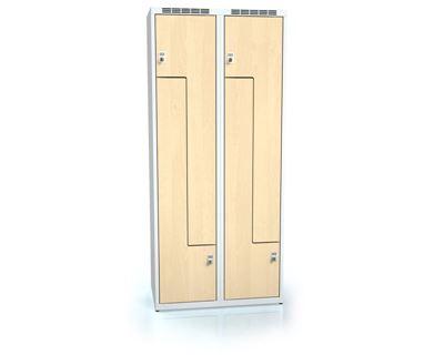 Z-skåp Karup, plant tak, 4 dörrar, BxDxH 800x500x1800 mm, björk/grå