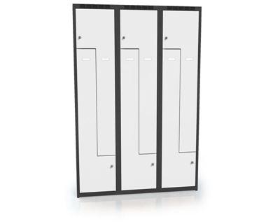Z-skåp Karup, plant tak, 6 dörrar, BxDxH 1200x500x1800 mm, grå/antracit
