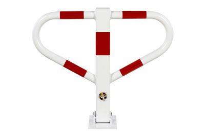 Parkeringsbom Vege, lås med trekantsnyckel, HxB 500x600 mm, röd/vit