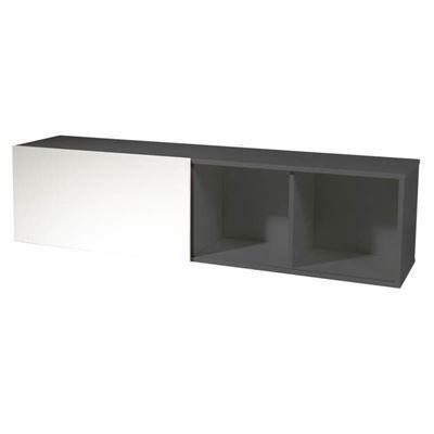 Vägghylla Edmonton, BxDxH 1600x350x400 mm, mörkgrå/vit