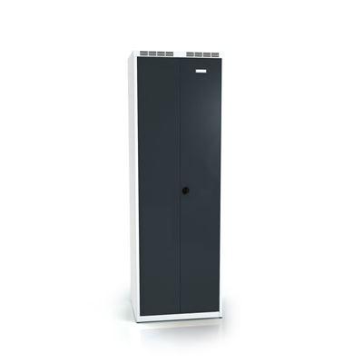 Klädskåp Karup med pardörrar, 300+300, BxDxH 600x500x1800 mm, plant tak, antracit/grå