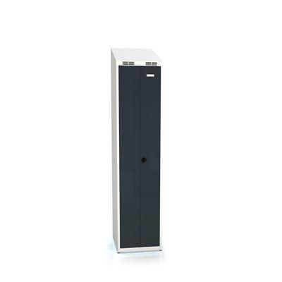 Klädskåp Karup med pardörrar, 200+200, BxDxH 400x500x1995 mm, sluttande tak, antracit/grå