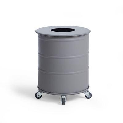 Soptunna Brooklyn Bin Mini, H 450 mm, hjul, singel med lock, grå