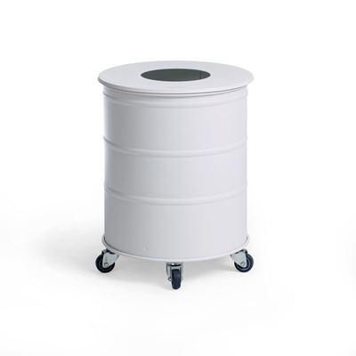Soptunna Brooklyn Bin Mini, H 450 mm, hjul, singel med lock, vit