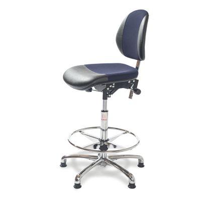 Arbetsstol Activ Duo, hög, med glidfot och fotring, blå/svart