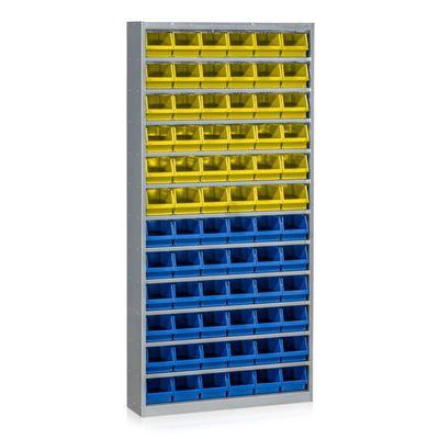 Backskåp Aldra, 36 st blå och 36 gula backar, H 2000 mm