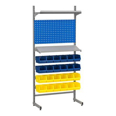 Verktygsförvaring Lodur, med panel, 2 hyllplan, 24 backar, H 2000 mm
