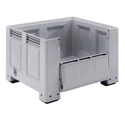 Pallcontainer Big Box, 610 liter, utan medar, öppningsbar långsida