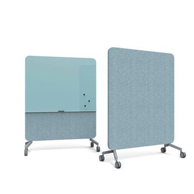 Whiteboard glas Mood Fabric Mobile, blå, BxH 1500x1960 mm