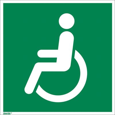 Nödskylt, efterlysande, rullstol vänster, 150x150 mm, plast, 10 st/fp