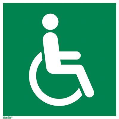 Nödskylt, efterlysande, rullstol höger, 200x200 mm, plast, 10 st/fp