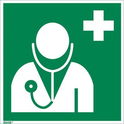 Nödskylt, efterlysande, läkare, 200x200 mm, aluminium, 10 st/fp