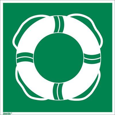 Nödskylt, efterlysande, räddningsutrustning livboj, 200x200 mm, aluminium, 10 st/fp