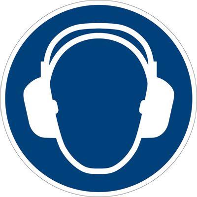 Påbudsskylt, hörselskydd, Ø 200 mm, plast, 10 st/fp