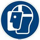 Påbudsskylt, ansiktsskydd, Ø 200 mm, aluminium, 10 st/fp