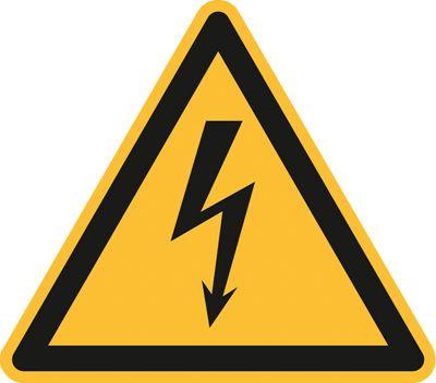 Varningsskylt, elektrisk spänning, Ø 200 mm, plast, 10 st/fp