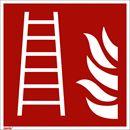 Brandskylt, efterlysande, brandstege, 150x150 mm, aluminium, 10 st/fp