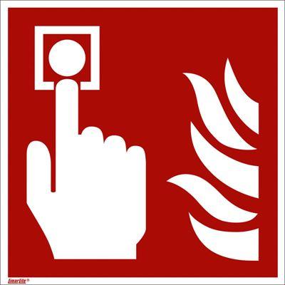 Brandskylt, efterlysande, brandlarm, 150x150 mm, plast, 10 st/fp