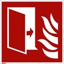 Brandskylt, efterlysande, brandskyddsdörr, 200x200 mm, plast, 10 st/fp