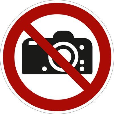 Förbudsskylt, kamera, Ø 200 mm, plast, 10 st/fp