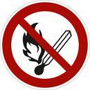 Förbudsskylt, rökning och öppen eld, Ø 200 mm, plast, 10 st/fp