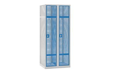 Omklädningsskåp Klynne, BxDxH 800x500x1800 mm, klinka, 2 dörrar i 2 skåp, grå/blå