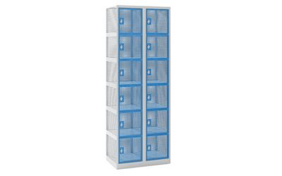 Småfacksskåp Klynne, BxDxH 600x500x1800 mm, klinka, 12 dörrar i 2 skåp, grå/blå