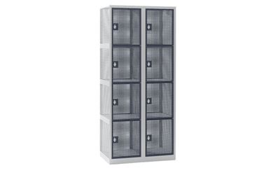 Småfacksskåp Klynne, BxDxH 800x500x1800 mm, klinka, 8 dörrar i 2 skåp, grå/basaltgrå