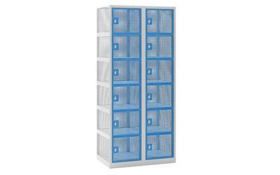 Småfacksskåp Klynne, BxDxH 800x500x1800 mm, klinka,12 dörrar i 2 skåp, grå/blå