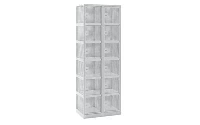 Småfacksskåp Klynne, BxDxH 600x500x1800 mm, cylinderlås, 12 dörrar i 2 skåp, grå/grå
