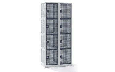 Småfacksskåp Klynne, BxDxH 800x500x1800 mm, cylinderlås, 8 dörrar i 2 skåp, grå/basaltgrå