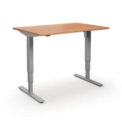 Höj och sänkbart skrivbord Atlanta, rak, LxB 1400x800 mm, bok/silver