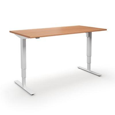 Höj och sänkbart skrivbord Atlanta, rak, LxB 1800x800 mm, bok/vit