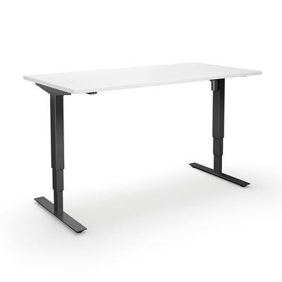 Höj och sänkbart skrivbord Atlanta, rak, LxB 1800x800 mm, vit/svart