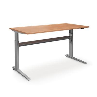Höj och sänkbart skrivbord Dallas, rak, LxB 1800x800 mm, bok/silver