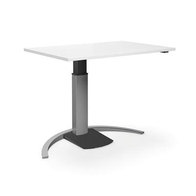 Höj och sänkbart skrivbord Tampa, rak, LxB 1400x800 mm, vit/silver