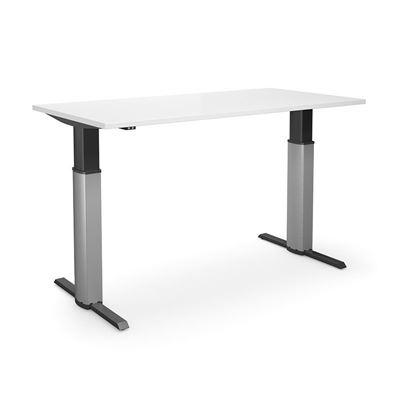 Höj och sänkbart skrivbord Tampa, rak, LxB 1800x800 mm, vit/silver
